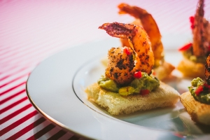 Spicy Shrimp with Avocado-Corn Salsa on Toast Point