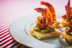Spicy Shrimp with Avocado-Corn Salsa on Toast Point