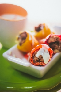 Mini Cheese Stuffed Sweet peppers with a jalapeno ranch